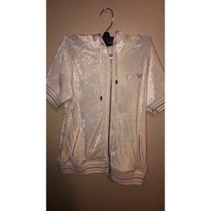 White silky short sleeve sweater